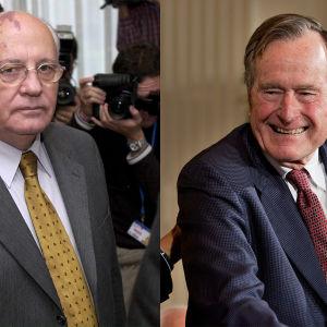 Bildcollage av Michail Gorbatjov och George Bush