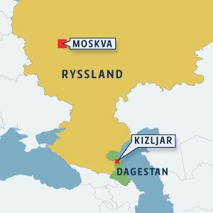Karta som visar Dagestan och staden Kizljar