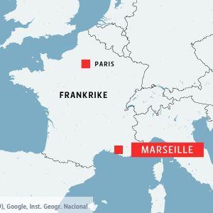Karta över Marseille i södra Frankrike.