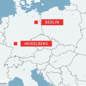 Karta som visar Heidelberg och Berlin i Tyskland