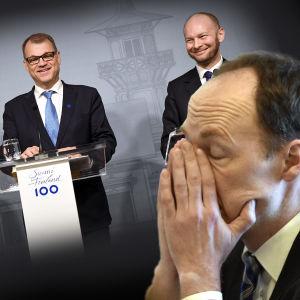 Bildcollage som visar Juha Sipilä, Petteri Orpo och Sampo Terho som ler, och Jussi Halla-aho som ser ledsen ut.