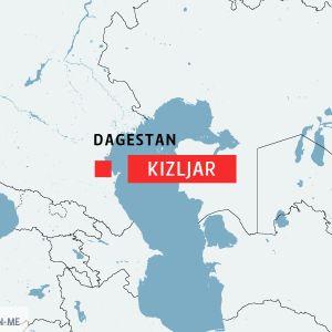 Karta som visar staden Kizljar i Dagestan, Ryssland