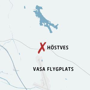 Karta som visar Vasa flygplats och Höstves