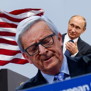 Bildcollage av Donald Trump, Jean Claude Juncker och Vladimir Putin.