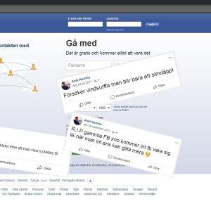 Skärmdump från facebooks inloggningssida och Axel Nurmios gamla statusar.