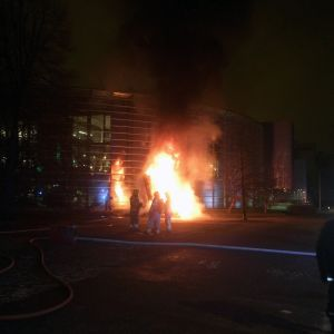 Palomiehiö palavan taideteoksen edessä Helsingin Viikissä.