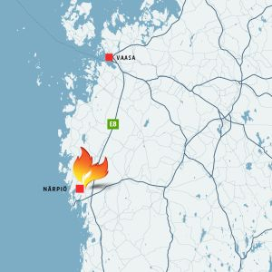 Tulipalopaikka Närpiössä kartalla.
