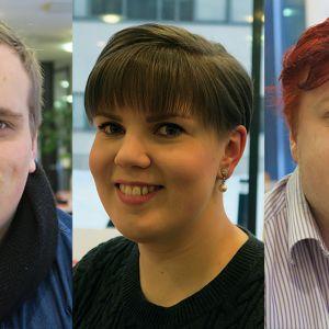 HAMKin opiskelijoita, vasemmalta Aleksi Ojanperä, Liisa Hyytiäinen ja Sakari Vitikko