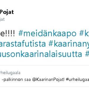 Kaarinan Pojat juhli voittoa Twitterissä.