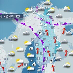 Keskiviikon 24. tammikuuta sääkartta.