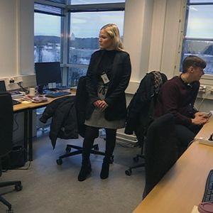Oikeusrekisterikeskuksen työntekijöitä työpöytien ääressä