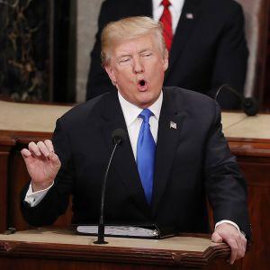 Presidentti Donald Trump piti puheen kansakunnan tilasta.
