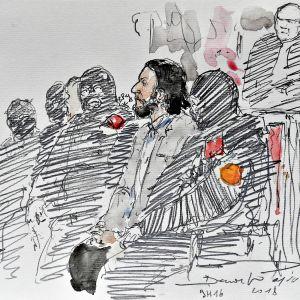 Brysselin oikeudenkäynnistä 5. helmikuuta tehty piirros, jossa Salah Abdeslam istuu poliisien ympäröimänä.