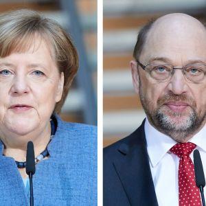 Kuvassa vasemmalla Angela Merkel ja oikealla Martin Schulz.