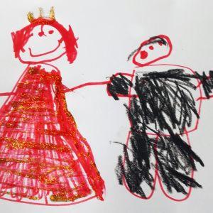 Ihastuneen lapsen piirrustus, kuvassa aviopari