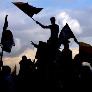 Silhuetissa kurdilippuja heiluttavia mielenosoittajia