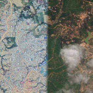 Kahden satelliittikuvan kompositio.