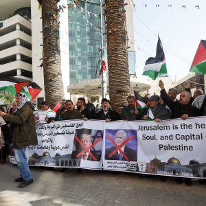 Palestiinalaisia osoittamassa mieltään.
