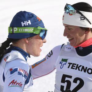 Krista Pärmäkoski (vas.) ja Marit Björgen.
