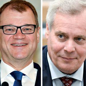 Timo Soini, Juha Sipilä ja Antti Rinne.