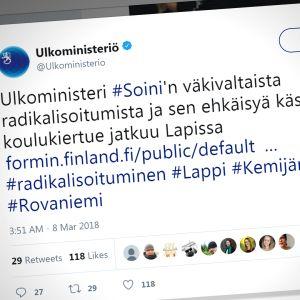 Ulkoministeriö julkaisi torstaina Twitter-tilillään huonosti muotoillun viestin, josta saa kuvan, että ulkoministeri Timo Soini (sin.) olisi väkivaltaisesti radikalisoitunut.