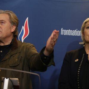 Yhdysvaltojen presidentin entinen neuvonantaja Stephen Bannon ja Ranskan äärioikeistolaisen puolueen johtaja Marine Le Pen.