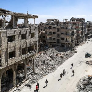Tuhoutuneen Douman kaupungin raunioita