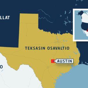 Kartta, josta näkyy Teksasin osavaltion sijainti Yhdysvalloissa ja Austinin kaupungin sijainti.
