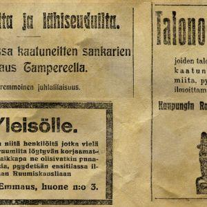 Lehti-ilmoituksia ja -otsikoita vuodelta 1918