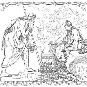 Piirroskuva Odin-jumalasta ja ennustajattaresta höyryävän padan juuressa. Taustalla putous ja puita.