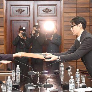 Pohjois-Korean ja Etelä-Korean edustajat tapasivat Pohjois-Koreassa 20. maaliskuuta.