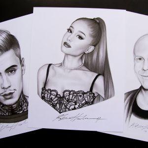 Kuvassa kolme Katja Honkosen piirtämää julkkismuotokuvaa Mikael Gabrielista, Arianna Grandesta ja Toni Wirtasesta.