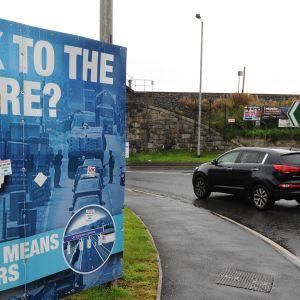 Brexitin vastainen juliste Newryssa, Pohjois-Irlannin ja Irlannin rajalla elokuussa 2017.