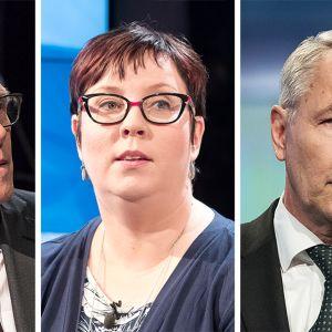 Matti Vanhanen (kesk.), Merja Kyllönen (vas.) ja Pekka Haavisto (vihr.).