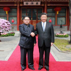 Pohjois-Korean johtaja Kim Jong-un ja Kiinan presidentti Xi Jinping kättelevät Kim Jong-unin Kiinan vierailulla  maaliskuussa 2018.