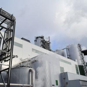Metsä Groupin Äänekosken biotuotetehtaan massatehtaan höyryjä.