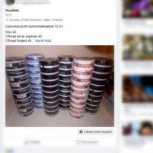Kuvakaappaus nuuskan myynnistä Facebook-ryhmässä.