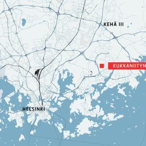 Kartta, johon on merkitty kukkaniityntie Helsingin Vartiokylässä.