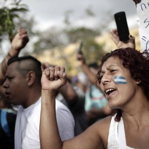 Mielenosoittaja huutaa ja nostaa nyrkissä olevaa kättään, naisen poskeen on maalattu lippu.