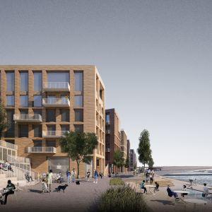 Havainnekuva Hakaniemenrannan ideakilpailun voittaneesta ehdotuksesta Cinque palazzi. Ehdotuksen tekijät ovat Arkkitehtitoimisto Harris-Kjisik Oy ja VSU maisema-arkkitehdit Oy.