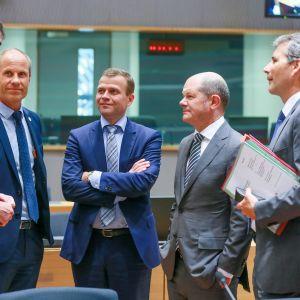 Valtiovarainministeri Petteri Orpo (kesk.) osallistui torstaina euroryhmän kokoukseen Brysselissä.