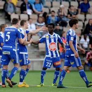 HJK-pelaajat juhlivat kuvassa