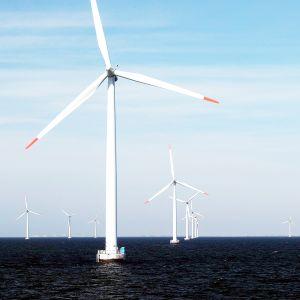 Merellä sijaitseva tuulivoimapuisto.