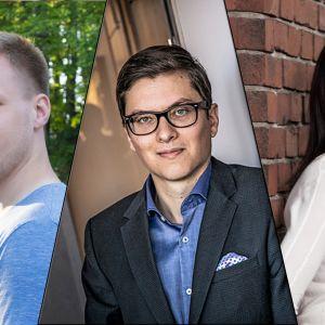 Kuvakollaasi, jossa Olli Haapalainen, Mikael Rautanen ja Terhi Majasalmi.