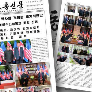 Kuvakaappaus Rodong Sinmun -lehdestä.