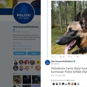 Ruutukaappaus Sisä-Suomen poliisilaitoksen twiitistä.