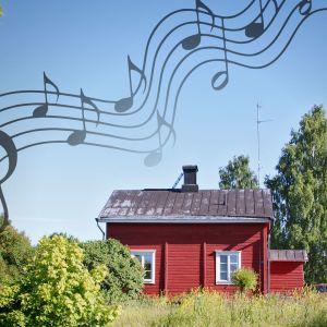 Kuvassa aamuinen maisema Lappeenrannan linnoituksesta, päällä nuottiviivastoa.