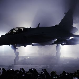 Uuden  JAS 39 Gripen hävittäjän julkistamistilaisuus toukokuussa 2016  Linkopingissä.