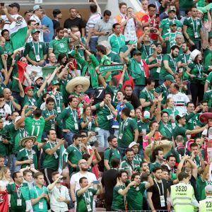 Meksikon faneja ottelussa Saksaa vastaan.