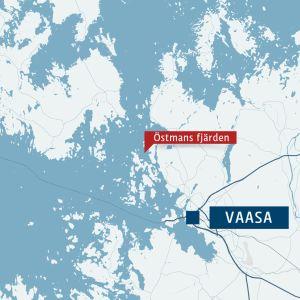 Kartta, jossa Vaasan ja Östmans fjärdenin sijainnit.